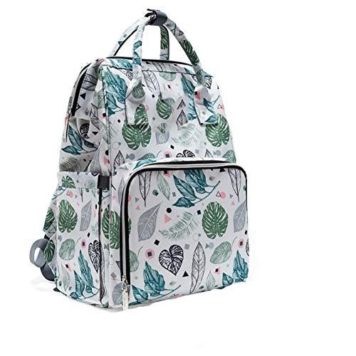 HLSUSAN Large Nappy Changing Backpack Bag with Changing Mat, Leaf Print