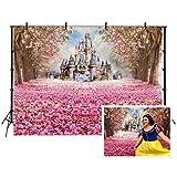 Fondo de cumpleaños 200x150cm Fondo rosado del castillo del camino de la flor de cerezo para la...