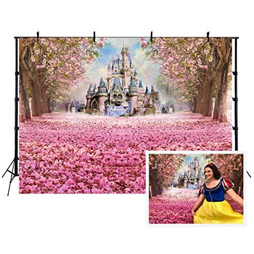 Fondo de cumpleaños 200x150cm Fondo rosado del castillo del camino de la flor de cerezo para la fotografía de la fiesta del bebé.W-1951