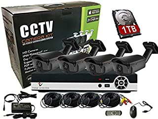 Tomvision 4Channel AHD Camera KIT with 1000GB Hard Disk For Recording 2.0MP/1080P CCTV Security System CCTV Kit 4Pcs Outdo...