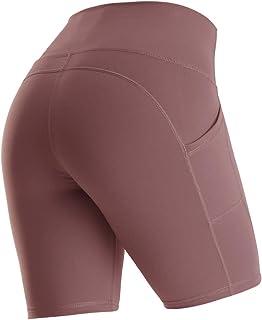Yaavii Women's High Waist Side Pockets Yoga Shorts Tummy Control Athletic Workout Running Leggings