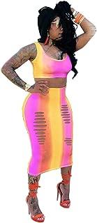Women Casual Rainbow Tie Dye Dress Tank Crop Tops Long Midi Pencil Dresses 2 Piece Outfits Skirt Sets