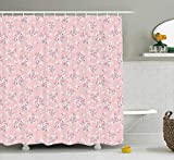 Pink Decor Shower Curtain by Romantic Shabby Chic Style Inspired Flowers with Little Roses Lilacs Artwork Fabric Bathroom Decor Set with Hooks 180CM Light Pink