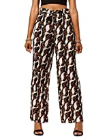 Women's Palazzo Pants with Paper Bag Waist Tie Waist and Micro Pleated Detail in Regular and Plus Sizes - Paper Bag Printed Rococo - Large - X-Large - PB902-13-Plus