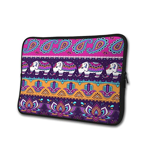 SWEET-YZ Laptop Sleeve Case Ethnic Indian Elephant Paisley and Hamsa Notebook Computer Cover Bag Compatible 13-15 Inch Laptop
