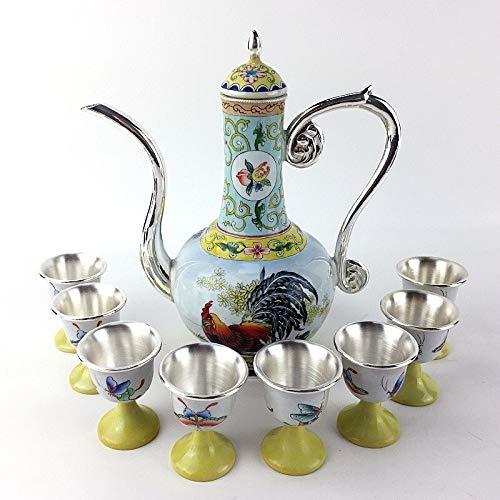 U/D Tetera de Plata Conjunto de 9 Piezas Esterling Silver de Esmalte de Esmalte del Esmalte de la Copa de jarras de Vino Gafas de Copa Regalo Herramienta de Vino Decoración del hogar Mjzhxm