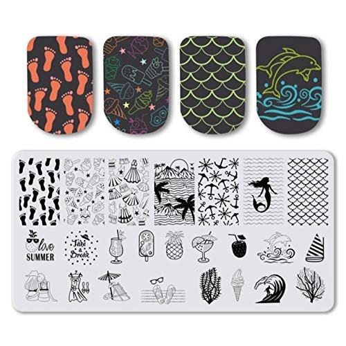Nail Stamping Plates Stainless Steel Strip Summer beach landscape Image Stamp Nail Art Stamping Nail Art