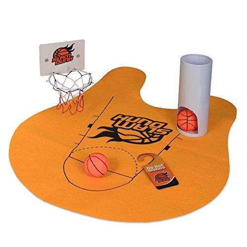 Grinscard Toiletten Basketball Set mit 3 Bällen und Matte - 8-teilig - Witziges Klo-Basketball Spiel fürs Badezimmer