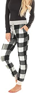Faisean Womens Super Soft Casual Burgundy Plaid Pajama Jogger Drawstring Pant with Heather Grey Contrast Side Pockets