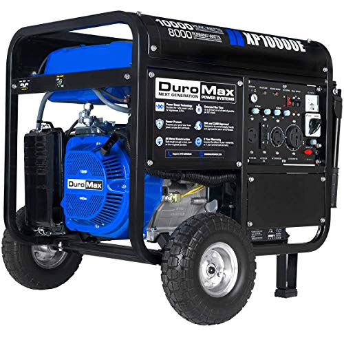 DuroMax XP10000E Gas Powered Portable Generator-10000 Watt Electric Start-Home Back Up & RV Ready, 50 State Approved, Blue/Black