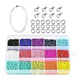 7500 Pcs Cuentas de Colores,Mini Cuentas de Colores,Cuentas para Collares,Mini Cuentas y Abalorios Cristal para DIY Pulseras Collares Bisutería,3mm