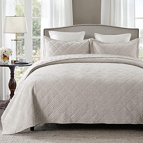 HoneiLife Tagesdecke-Set King – 3-teiliges besticktes Cord-Tagesdecken-Set, luxuriöse Tagesdecke, leichte Tagesdecke, warmes Bettwäsche-Set, für alle Jahreszeiten, grau-weiß, King-Size-Größe