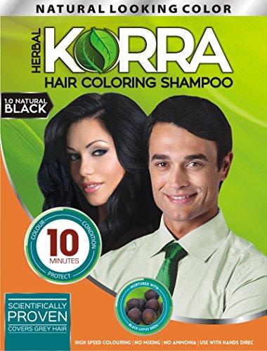 Korra Hair Coloring Shampoo (Natural Black, 30 ml) -Pack of 3