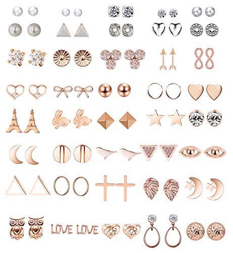 GUUTUUG 42 Pares Surtidos de múltiples aretes de joyería Conjunto con Tarjeta para Mujeres niñas Simple aro Conjunto de Pendientes (Estilo 1)