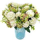 XONOR 4 Paquets Artificielle Soie Hortensia Faux Bouquet De Fleurs De Demoiselle d'honneur Mariée pour la décoration de Maison de Mariage, 10 Têtes, 36cm (Blanc Vert)