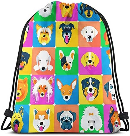 Dog Breeds Profiles Pets Drawstring Backpack Gym Sack Lightweight Sport Sackpack Outdoor Packable product image