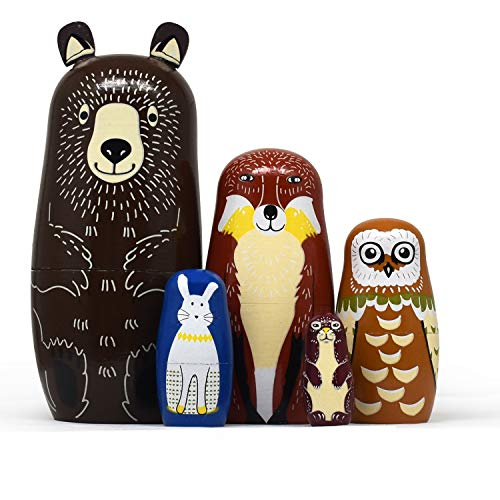 Tphon Russian Nesting Dolls Bear Wooden Matryoshka Dolls for Kids Handmade Cute Cartoon Animals Pattern Nesting Doll Toy Stacking Doll Set of 5