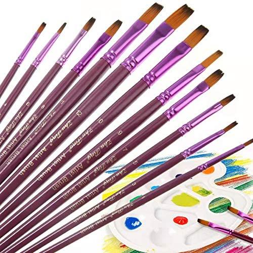 O-Kinee 12 Pinceles, Cepillo de Pintura Pinceles Acrilico, Brochas Pintura, Pinceles Planos De Artista De Nylon con 1 Palet para acuarela pintura acrílica u oleo (Púrpura-A)