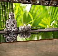 壁の壁画 壁紙 ウォールカバー 緑の竹林の仏像 壁画 壁紙 ベッドルーム リビングルーム ソファ テレビ 背景 壁 壁面装飾のための,350x250cm