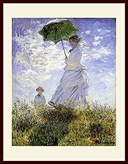 モネ・「散歩、日傘をさす女性」 プリキャンバス複製画・ 額付き(デッサン額/大衣サイズ)