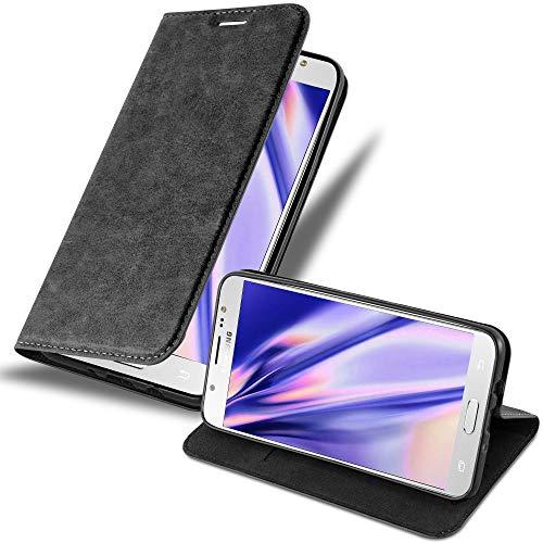 Cadorabo Funda Libro para Samsung Galaxy J7 2016 en Negro Antracita – Cubierta Proteccíon con Cierre Magnético, Tarjetero y Función de Suporte – Etui Case Cover Carcasa