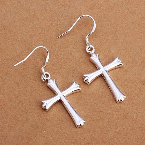Oorbellen kruis zilveren oorbellen dames/roestvrij staal/allergie/zilver glanzend/klein klein/oorbellen/hangende oorbellen Come mostrato Zilver.