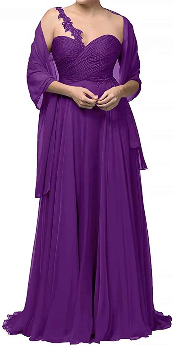 One Shoulder Mother of The Bride Dresses with Shawl Long Chiffon Formal Evening Gown for Women
