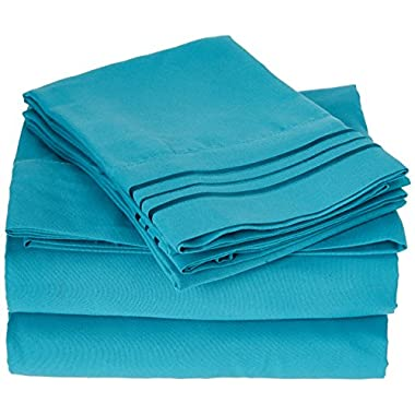 Elegant Comfort 1500 Thread Count Wrinkle & Fade Resistant Egyptian Quality Ultra Soft Luxurious 4-Piece Bed Sheet Set with Deep Pockets, Queen Turquoise