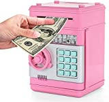 NooQee Code Electronic Piggy Banks for Children Kids Mini ATM Electronic Password Coin Bank Saving Box Fun Bank Toy Gifts for Boys Girls (Pink)