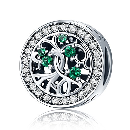 CHENGMEN Family Tree of Life Charms Beads 925 Sterling Silver Bead Charm fits European Bracelets Bangle Jewellery for Women