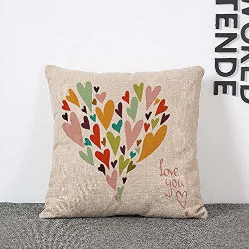 Socoz Funda de cojín cuadrada con corazones de colores, 40 x 40 cm