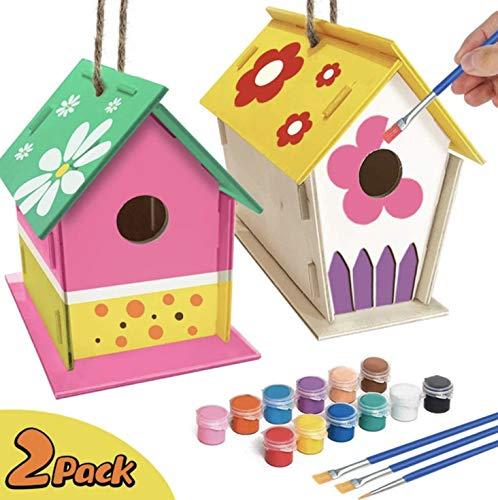YUET DIY Kit de casa de pájaros,Casas de pájaros para niñas y niños Salvajes DIY Nido de Madera con,casa para pájaros para niños,2 Paquetes (Redondos)