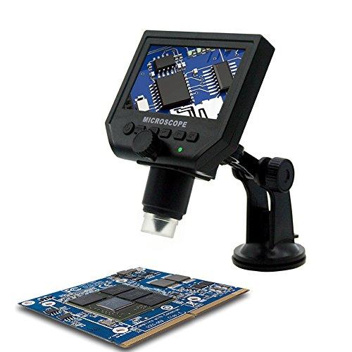 KKmoon Digital Tragbar HD Mikroskope【3.6 Megapixel/mit 1-600 X 4.3 Zoll LCD Bildschirm/Auflösung 1080P,720P/ VGA Einstellabr/Video Kamera Recorder mit Eingebaut Wiederaufladbar Lithium Batterie】