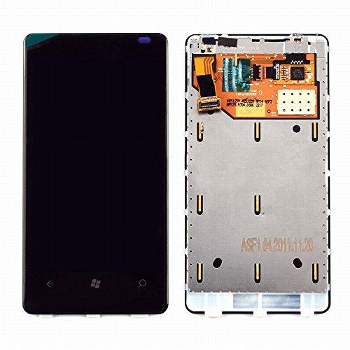 MovTEK Nokia Microsoft Lumia 800 LCD Display Schermo Vetro Digitizer Touch Screen Assemblato Include Frame di Ricambio e Gratis Kit (Nero)