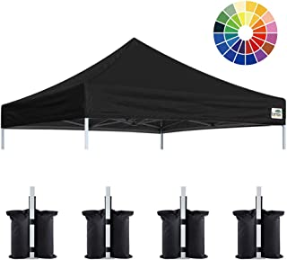 Eurmax New 10x10 Pop Up Canopy Replacement Canopy Tent Top Cover, Instant Ez Canopy Top Cover ONLY, Choose 30 Colors (Black)