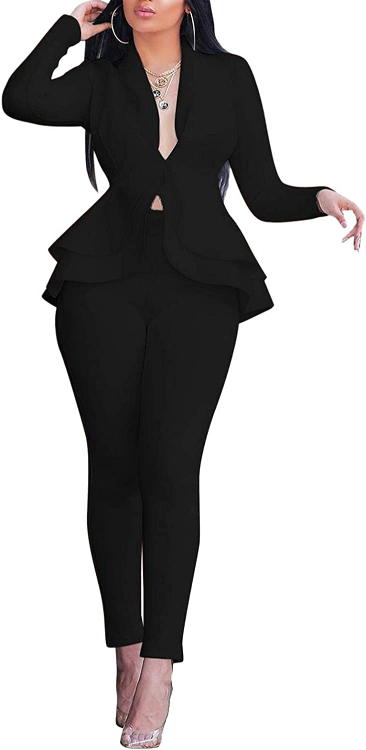 Misaky Suits Pants Sets Outfits Sexy Two Piece V Neck Stacked Long Sleeve Blazer + High Waist Skinny Bootcut Trousers
