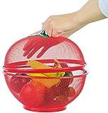 XT Frutero, cesta de frutas, verduras, soporte de frutas, estantes, inauguración de casa, cesta de frutas de hierro con tapa, cesta de cocina para lavar platos de drenaje de la mesa del hogar