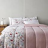 Amazon Basics Ultra-Soft Light-Weight Microfiber Reversible Comforter Bedding Set - Full/Queen, Pink Floral
