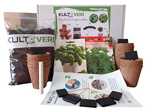 KULTIVERI Set de Cultivo con Macetas de Germinación Biodegradables. CREA tu Propio Huerto en Casa. (Albahaca y Orégano)