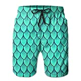 Paint0 Men's Dragon Scale in Shiny Blue Quick Dry Summer Beach Surfing Board Shorts Swim Trunks Cargo Shorts X-Large