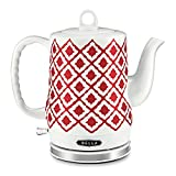BELLA (14102) 1.2 Liter Electric Ceramic Tea Kettle with Detachable Base & Boil Dry Protection, Red Diamond