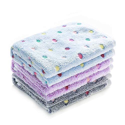 1 Pack 3 Blankets Super Soft Cute Dot Pattern Pet Blanket Flannel Throw for Dog Puppy Cat Blue/Purple/Grey Medium