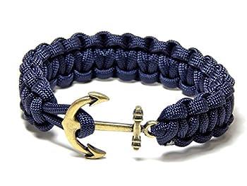 Nautical Anchor Bracelet Blue Paracord Cobra Weave Brass Tone Anchor 8 Inch