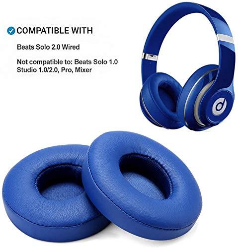 WADEO Ersatz Ohrpolste für Beats Solo 2 Leder Memory Foam Ohr Polsterfür Kopfhörer Ohrkissen Ohrpolster Reparatur Teile Kopfhörer Ohrenschützer Kissen Blau Verkabel