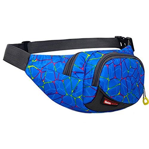 Black Temptation Outdoor Sports Sacs de Taille multifonctionnels pour la Course,la randonnée,Le Cyclisme,Le Camping, Motif Bleu
