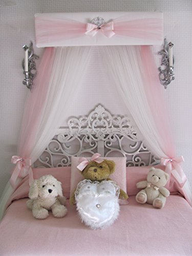 Princess Crib canopy Nursery cornice BED teester FULL Twin Queen 30 inch White Padded Pink Tulle Tiara Crown Silver or GOLD Sale Bedroom Decor