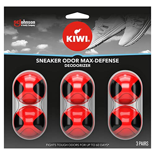 KIWI Sneaker and Shoe Deodorizer | For Shoes, Sneakers, Leather and More | Max Defense Balls | 3 Pairs