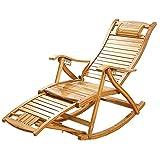 YZjk Tumbona Mecedora Plegable de bambú, reclinable de Servicio Pesado...