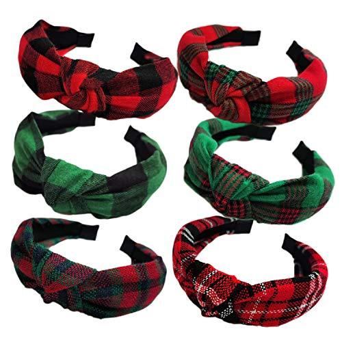 KizBruo 6PCs Christmas Knotted Plaid Headbands Fashion Vintage Turban Hair Band Retro Wide Headband for Women Girl Christmas Hair Accessories (D-6PCs)