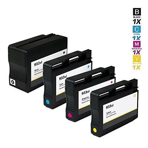 4 SCHNEIDERPRINTWARE TINTENPATRONEN (20 prozent höhere DRUCKLEISTUNG) kompatibel zu HP 932XL / HP 933XL CN053AE CN054AE CN056AE CN055AE Keinerlei Probleme,für HP Officejet 6100 ePrinter , HP Officejet 6600 , 6700 , 7110 Großformat-ePrinter